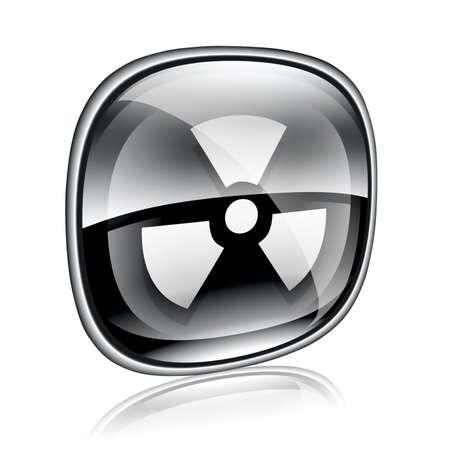 radiacion solar: Radiactivos icono negro de cristal, aislados en fondo blanco.
