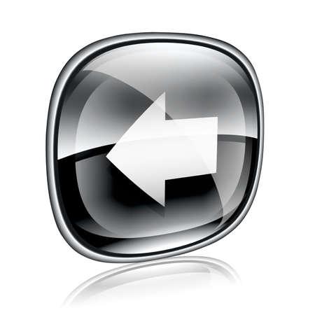 flecha derecha: Flecha izquierda el icono de cristal negro, sobre fondo blanco. Foto de archivo