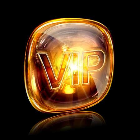 Vip icon amber, isolated on black background photo