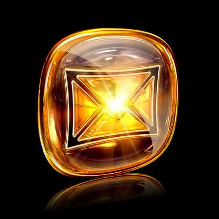 Envelope icon amber, isolated on black background photo