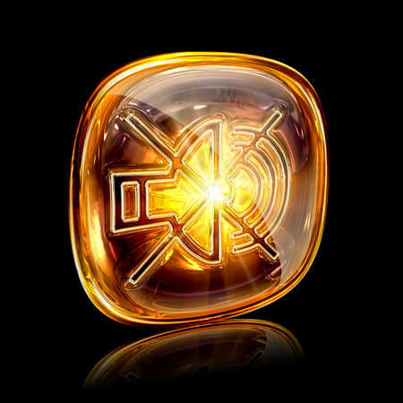 amber light: speaker off icon amber, isolated on black background. Stock Photo