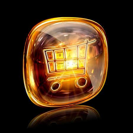 shopping cart icon amber, isolated on black background photo