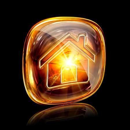 House icon amber, isolated on black background photo