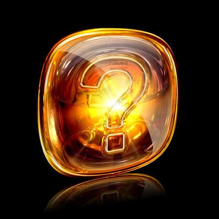 Help icon amber, isolated on black background photo