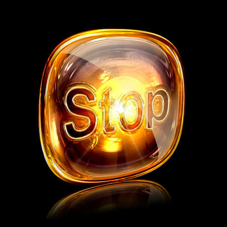 glass button: Stop icon amber, isolated on black background