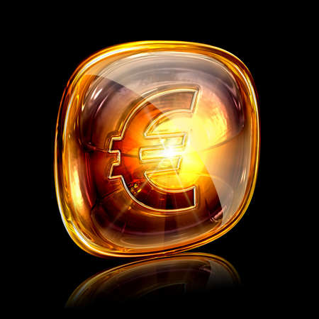 glass button: euro icon amber, isolated on black background. Stock Photo