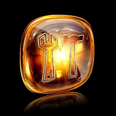 Tools icon amber, isolated on black background photo