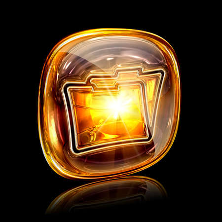 archive site: Folder icon amber, isolated on black background Stock Photo