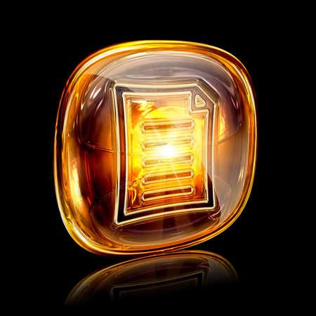 Document icon amber, isolated on black background photo