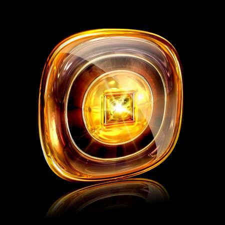 Stop icon amber, isolated on black background photo