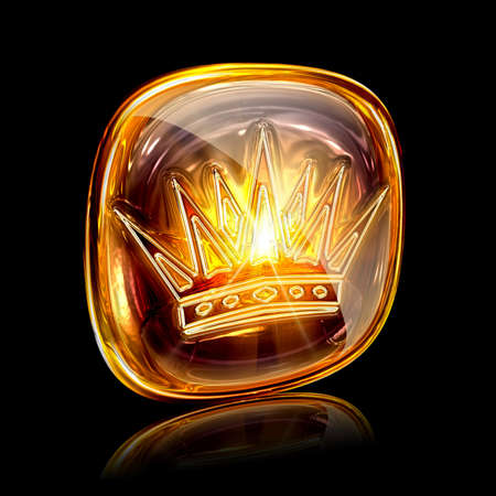 Crown icon ambe, isolated on black background photo