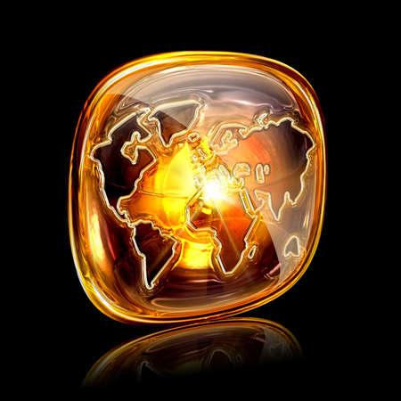 globe icon amber, isolated on black background photo