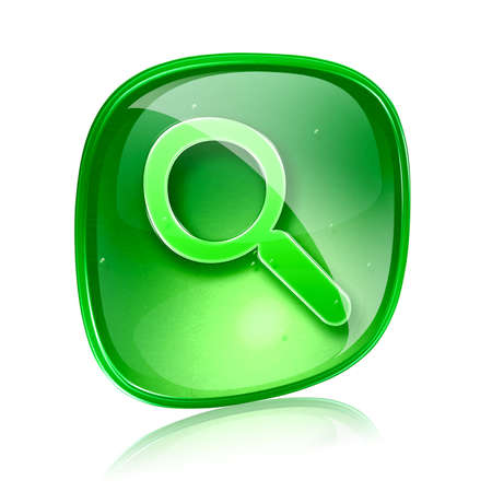 clearer: magnifier icon green glass, isolated on white background.