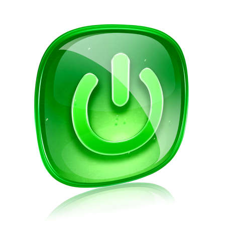 power icon green glass, isolated on white background. photo
