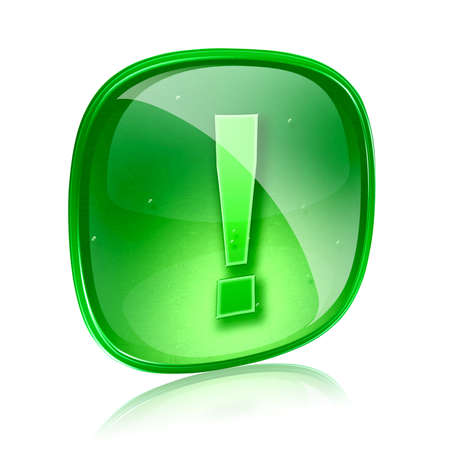 Exclamation symbol icon green glass, isolated on white background Stock Photo - 14626836