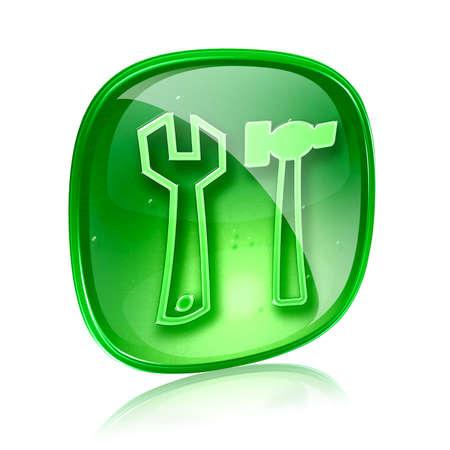 Кнопки: Инструменты значок зеленого стекла, изолированных на белом фоне.