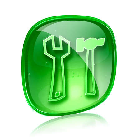 Tools icon green glass, isolated on white background. Stock Photo - 14626864