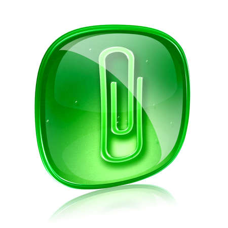 paperclip: Paperclip icon green glass, isolated on white background
