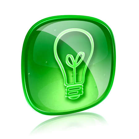 Light bulb Icon green glass, isolated on white background photo