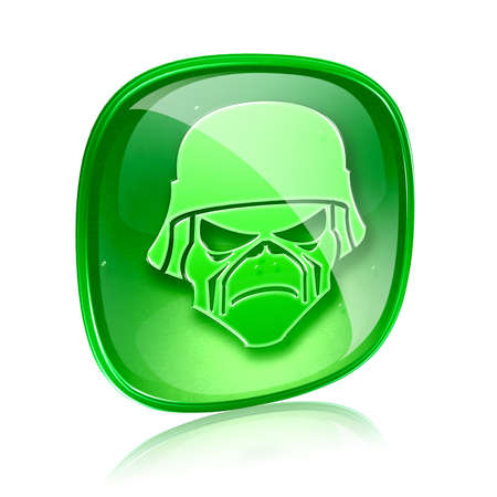 Army icon green glass, isolated on white background photo