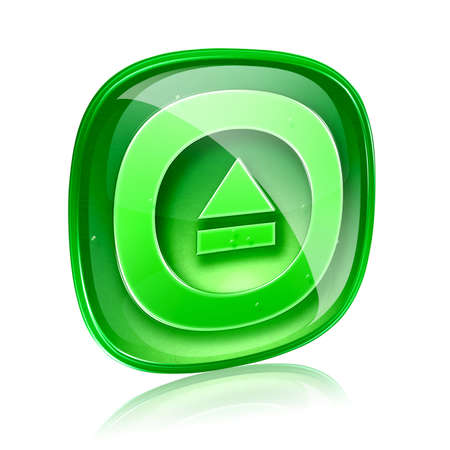 eject: Eject icon green glass, isolated on white background.
