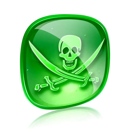 warez: Pirate icon green glass, isolated on white background.