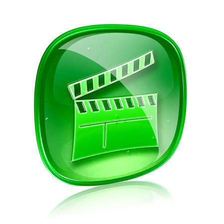 movie clapperboard icon blue green, isolated on white background. Stock Photo - 15916650
