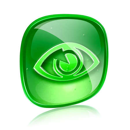 clearer: eye icon green glass, isolated on white background.