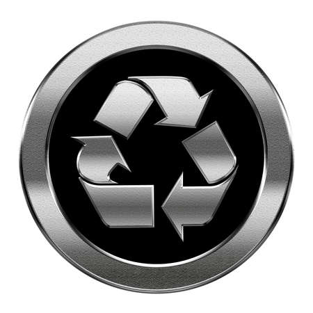 metal recycling: Recycling symbol icon silver, isolated on white background.