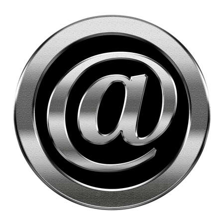 email symbol silver, isolated on white background photo