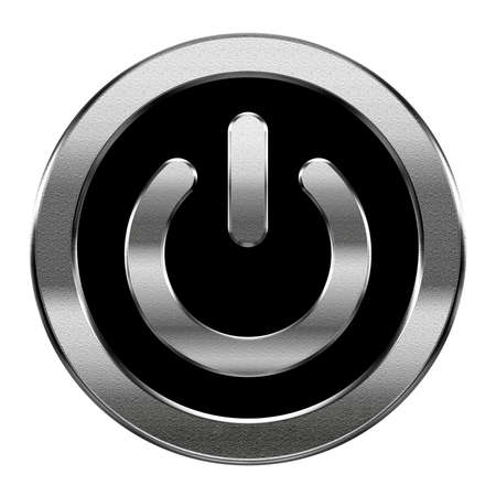 Power icon silver, isolated on white background