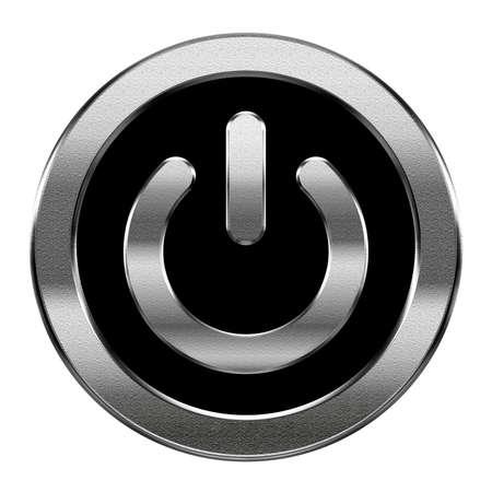 Power-Symbol Silber, isoliert auf weißem Hintergrund
