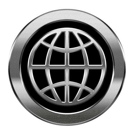 aqua icon: Globe icon silver, isolated on white background. Stock Photo