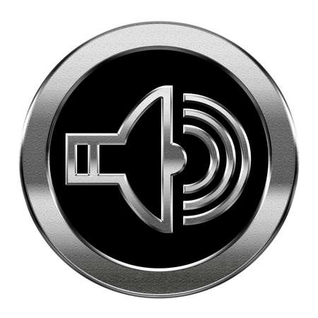 portable mp3 player: speaker icon silver, isolated on white background.
