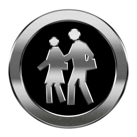 toilet symbol: people icon silver, isolated on white background Stock Photo