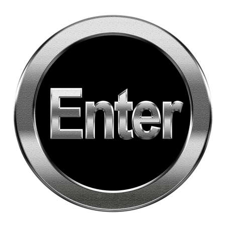Enter icon silver, isolated on white background photo