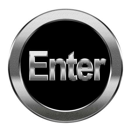 tecla enter: Ingrese icono plata, aislado en fondo blanco Foto de archivo