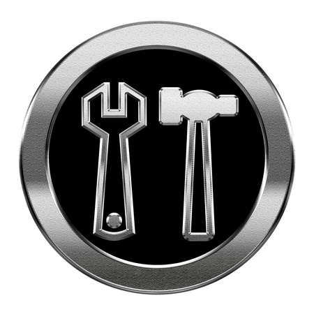 construct: Tools icon silver, isolated on white background. Stock Photo