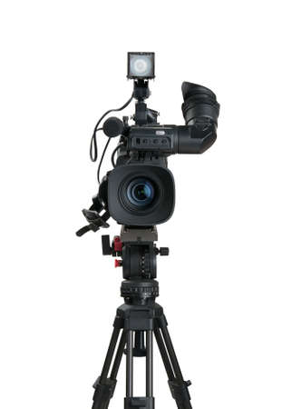 video production: Professional digital video camera, isolated on white background