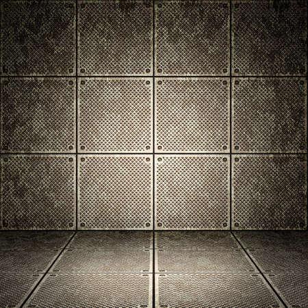 perspective grid: Old metallic interior, texture of metal. Stock Photo