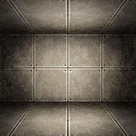 metal grid: Old metallic interior, texture of metal. Stock Photo