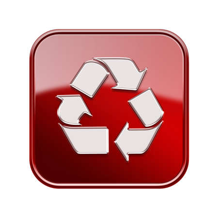 Recycling symbol icon red, isolated on white background photo