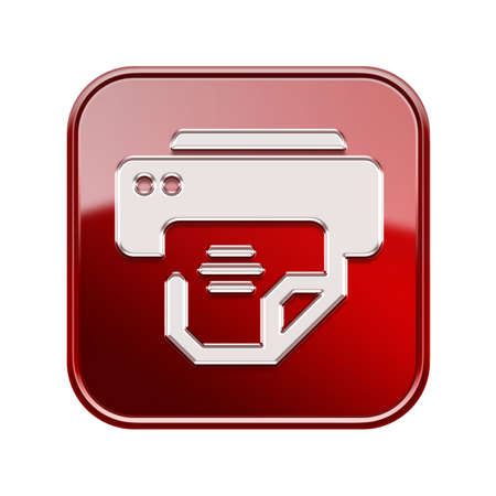 Printer icon red, isolated on white background photo
