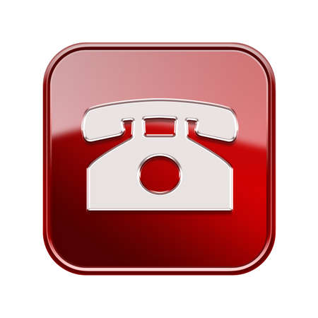 Phone icon red, isolated on white background