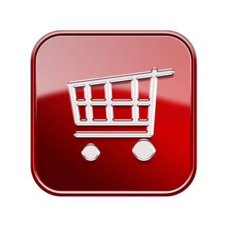 purchase icon: shopping cart icon  red, isolated on white background
