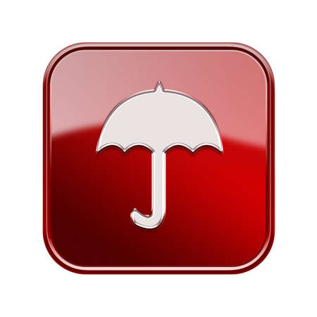 sender: Umbrella icon glossy red, isolated on white background
