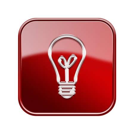 eureka: lightbulb icon glossy red, isolated on white background Stock Photo