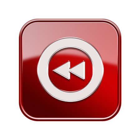 rewind icon: Rewind icon glossy red, isolated on white