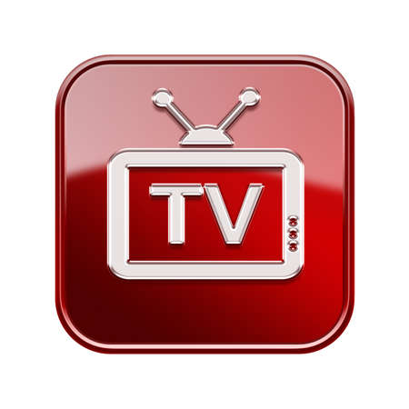 programm: TV icon glossy red, isolated on white background Stock Photo