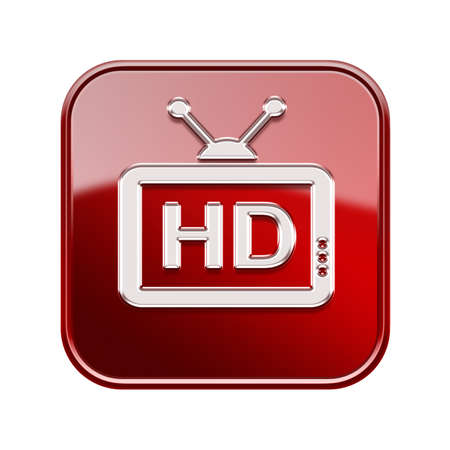 programm: TV icon glossy red, , isolated on white background Stock Photo